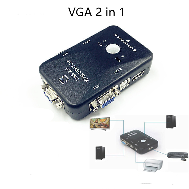 2019 USB KVM Switch Switcher 2 Port VGA SVGA Switch Box USB 2.0 Mouse Keyboard 1920*1440 Switch