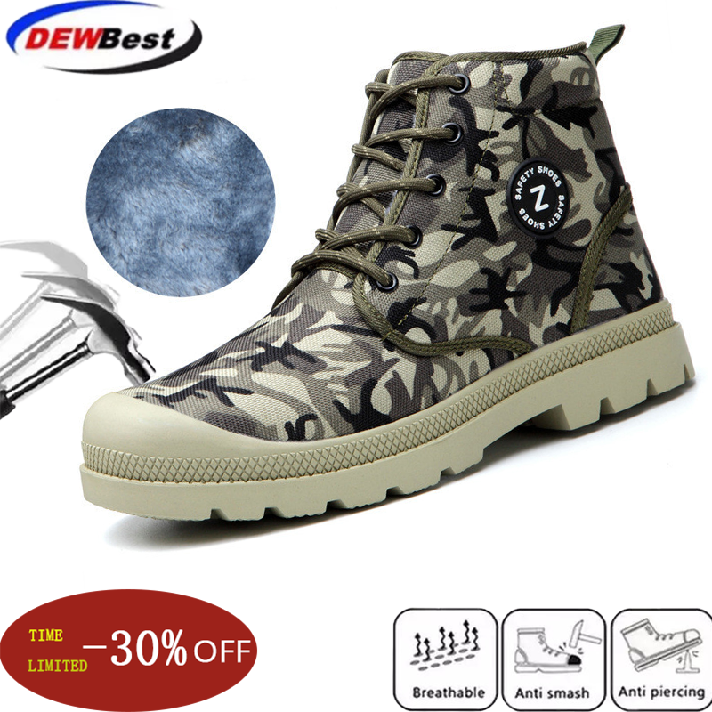 dewbest Men Work Boots Steel Toe Safety Shoes Breathable Protective Puncture Proof Work Shoes For Men Casual Sneakers