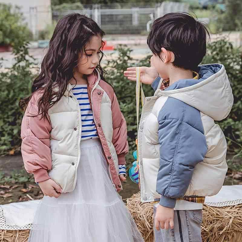 2019 модный пуховик для девочки, зимнее теплое пальто для мальчиков, куртки с длинными рукавами для маленьких девочек и мальчиков, Детская парка, верхняя одежда, YCOC1808