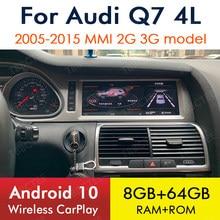 Autoradio Android 10, 8 go/64 go, CarPlay, Navigation GPS, MMI, 2G/3G, WiFi, stéréo, lecteur multimédia, sans fil, pour voiture Audi Q7 4L (2005 – 2015)