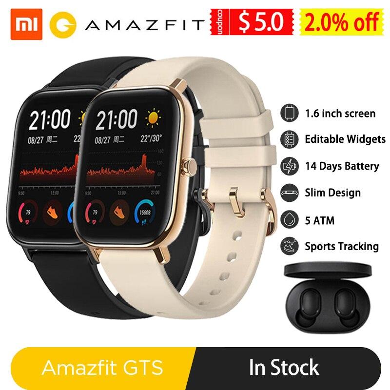 Amazfit Gts Smart Horloge Global Versie Mannen Vrouwen 5ATM Waterdichte Gps Tracker Nfc BT5.0 Smartwatch Voor Xiaomi Android Telefoon Ios