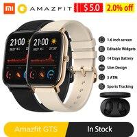 Amazfit gts relógio inteligente versão global das mulheres dos homens 5atm à prova dnágua rastreador gps nfc bt5.0 smartwatch para xiaomi telefone android ios|Relógios inteligentes| |  -