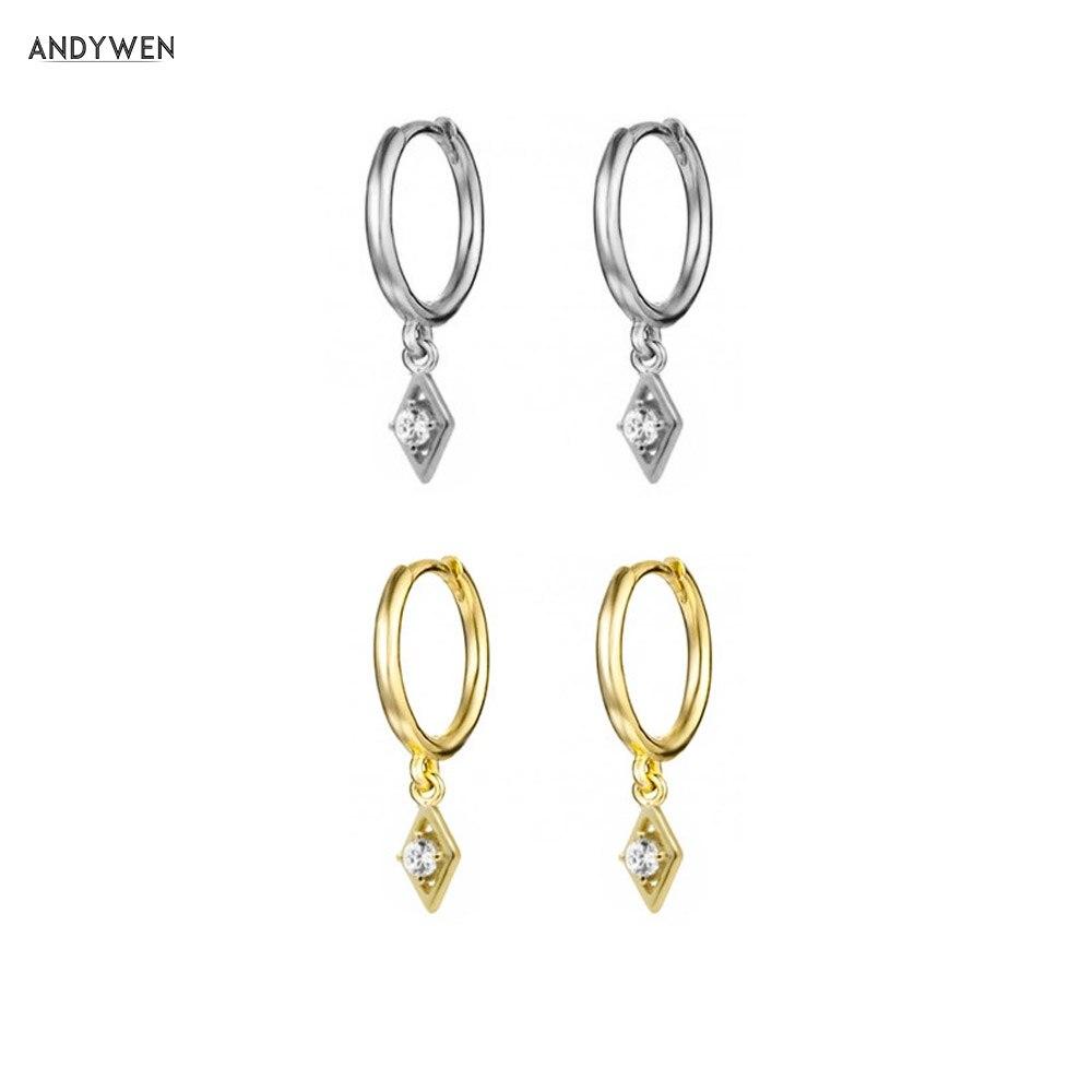 ANDYWEN 925 Sterling Silver Slim Lucky Eye Round Earring Crystal CZ Zircon Luxury Dangle Piercing Pendiente Ohrringe Jewelry