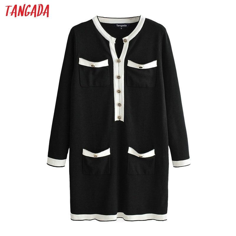 Tangada women knitted sweater dress elegant long sleeve buttons pocket 2019 autumn winter lady midi dresses JN309