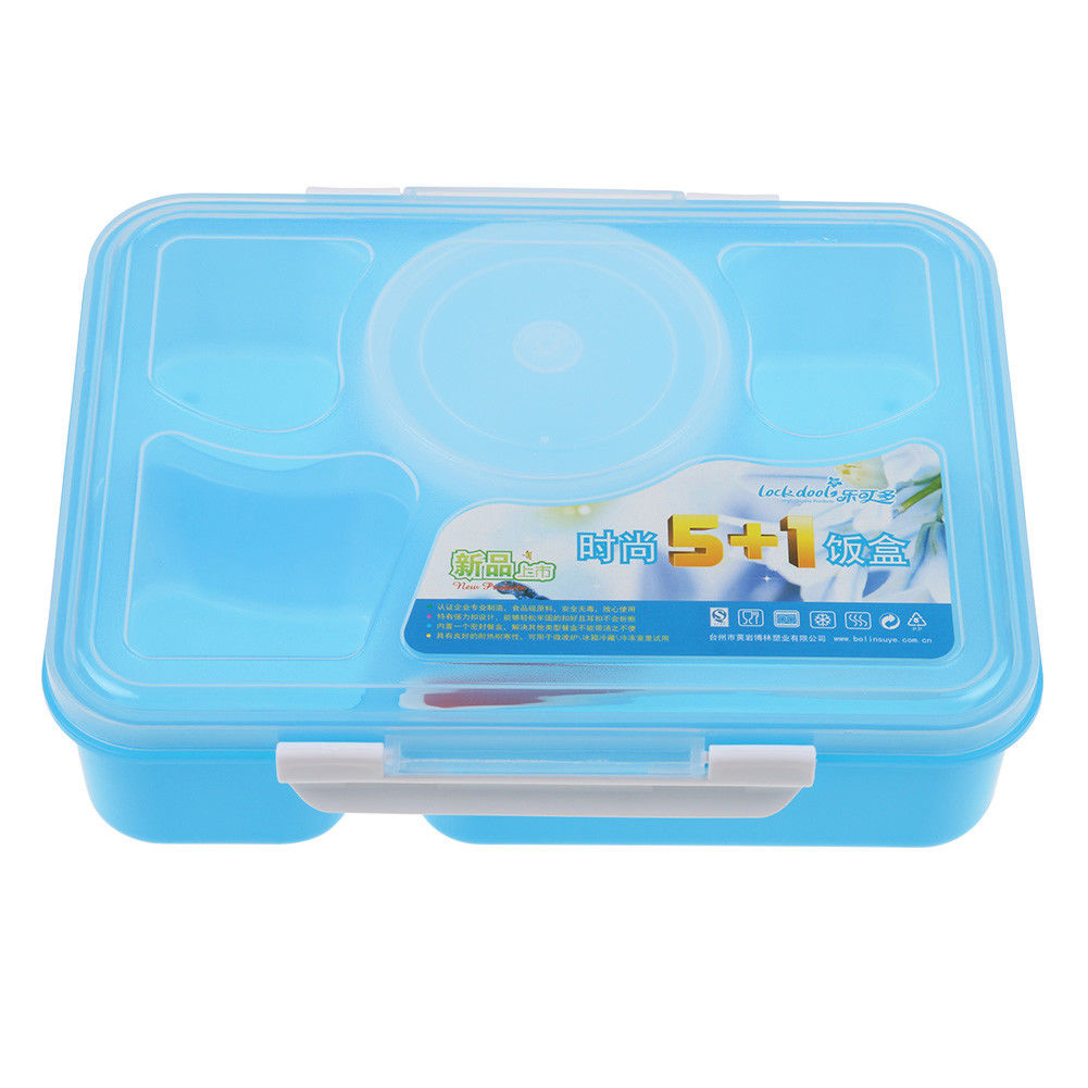 Lunch Box Microwave Bento Box 5 Compartment Food Container With Plastic Spoon