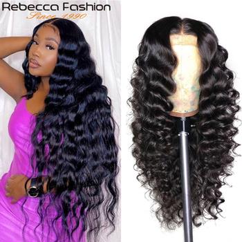 Brazylijski luźne głębokie koronkowa fala przodu włosów ludzkich peruk dla czarnych kobiet wstępnie oskubane Remy 13 #215 4 koronki przodu peruka 180 4 #215 4 zamknięcie peruka tanie i dobre opinie Rebecca fashion long Luźne fale CN (pochodzenie) Remy włosy Ludzki włos Pół maszyny wykonane i pół ręcznie wiązanej