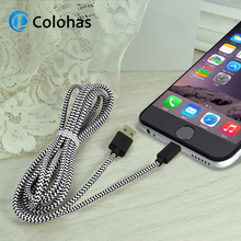 Colohas Top Quality Braided 8Pin USB Data Sync Charging Cable for iPhone X 8 6 6s 7 Plus 5 5S SE 2m 3m Charge Cables iOS 11