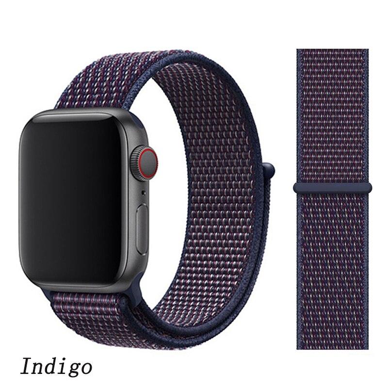 Спортивная петля ремешок apple watch band 42 мм 38 мм apple watch 4 3 band iwatch band 44 мм 40 мм correa pulseira 42 44 нейлоновый ремешок для часов - Цвет ремешка: NEW Indigo