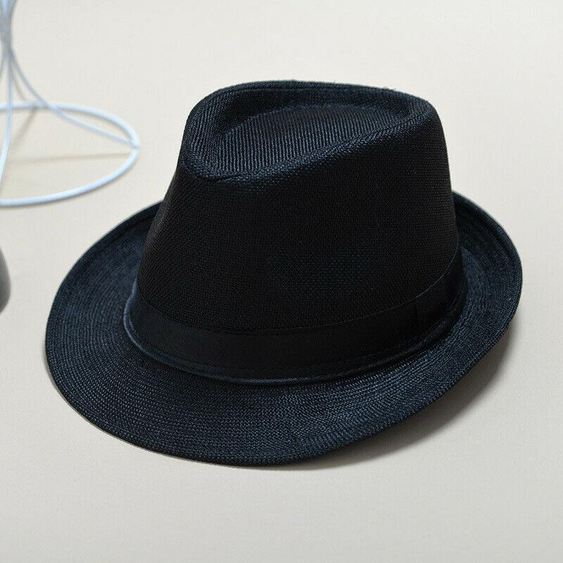 Unisex Hat Panama Straw Fedora Trilby Cap Foldable Travel Brim Wide Mens Ladies Fedora Cowboy Summer Hats