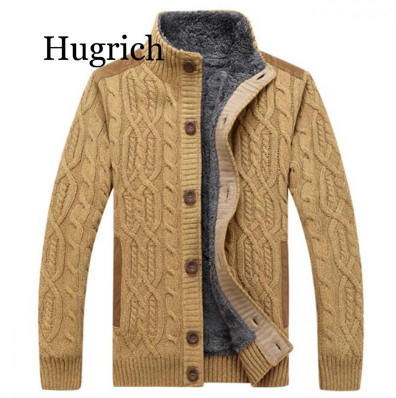 2020 Black Sweater Men Winter Warm Thick Velvet Sweatercoat Single-breasted Casual Men Sweater Pattern Knitwear Cardigan Men