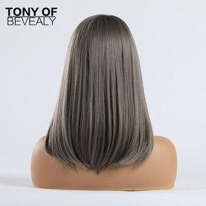 Image 5 - בינוני אורך ישר סינטטי פאות שחור כדי גריי Ombre שיער עם פוני לנשים אפרו קוספליי חום עמיד טבעי פאות