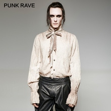 Men Shirt Clothing Rave-Steampunk Blouses Linen Stand-Up-Collar Retro Vintage Do Old