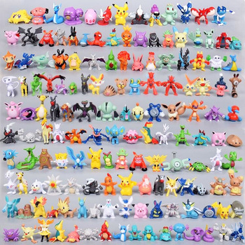Takara Tomy Pokemon Action Figure toys Mini figures Model Toy Pikachu Anime Kids Doll Birthday gifts 2-4cm 144pcs недорого
