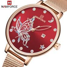 NAVIFORCE kobiet zegarki 2020 Top marka luksusowe bransoleta z różowego złota panie mody kryształ motyl zegar dla dziewczyn Wrist Watch