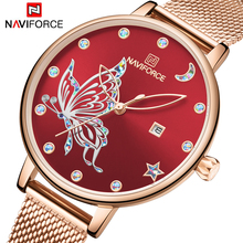 Naviforce relógios femininos 2020 marca superior de luxo rosa ouro pulseira senhoras moda cristal borboleta relógio de pulso para meninas