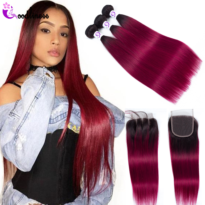 Goodliness 1b/Burgundy Ombre Human Hair 3 Bundles With Lace Closure Red Ombre Peruvian Straight Hair Bundles With Closure Remy