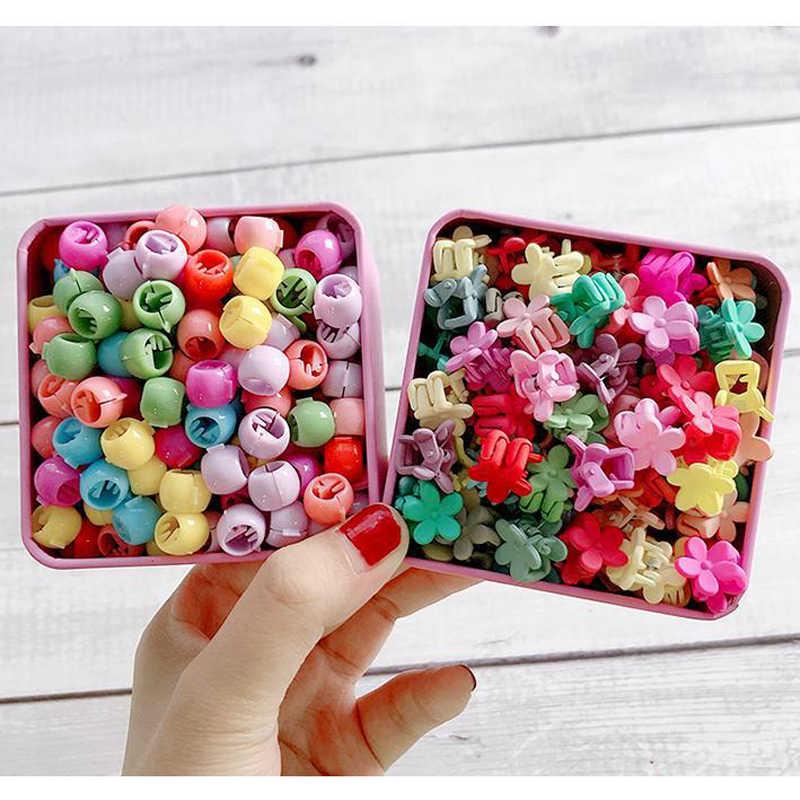 10-100 ชิ้น/กล่องใหม่ Candy สีดอกไม้ผมกรงเล็บการ์ตูน Peas คลิป Chlidren Crown Star Mini Hairpins อุปกรณ์เสริมผมสำหรับหญิง