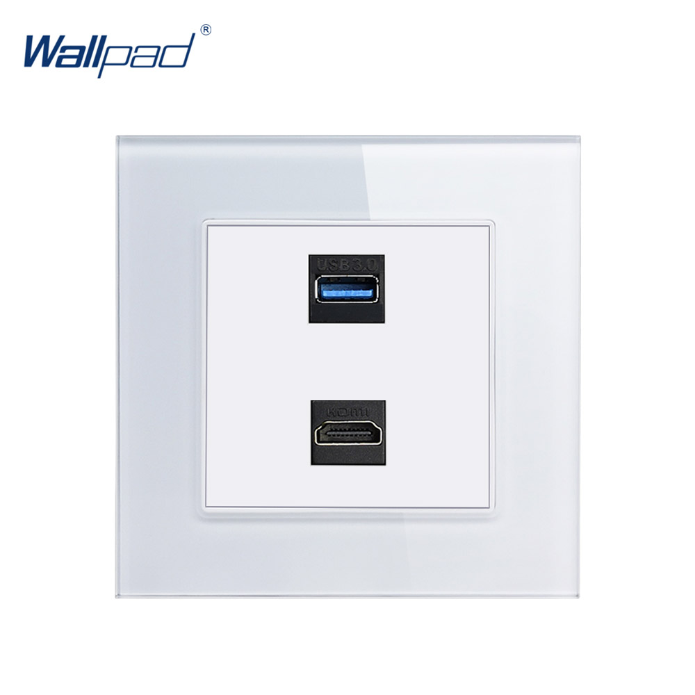 HDMI USB Socket Wallpad Crystal Glass Panel 110V-250V 10A-16A HDMI USB 3.0 Charging Wall Socket
