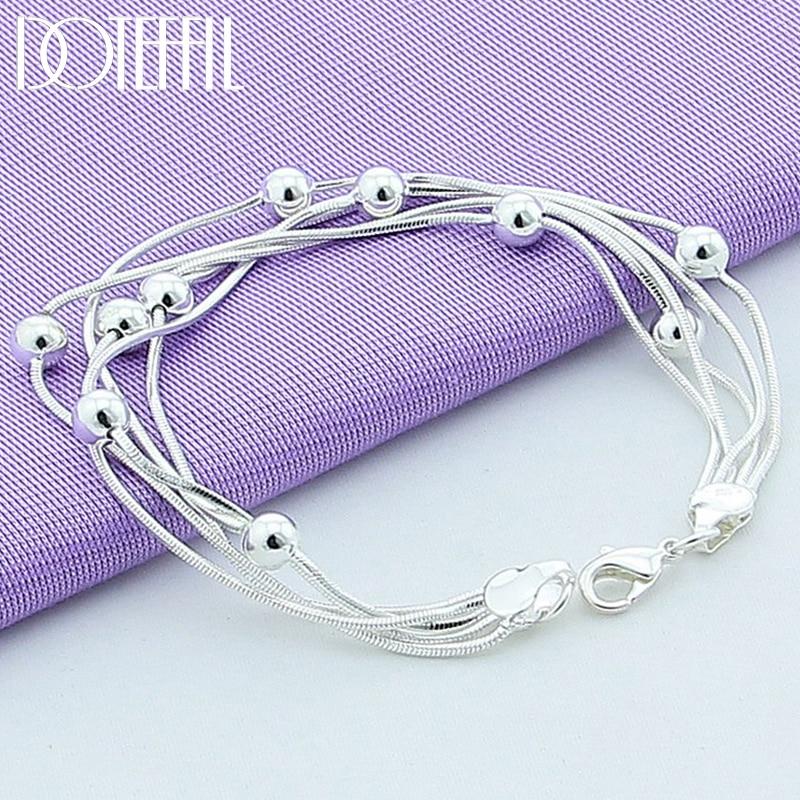 DOTEFFIL 925 Sterling Silver Five Snake Chain Bracelet Smooth Bead Silver Bracelet Fashion Women Wedding Engagement Jewelry