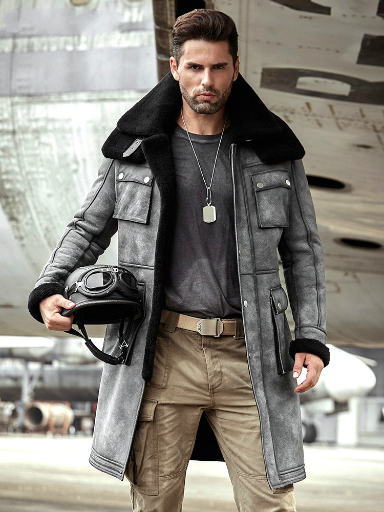 New Winter Thicker Fur One Leather Coat Men's Double Collar Sheepskin Leather Jacket Men High-end Genuine Leather Bomber Jacket