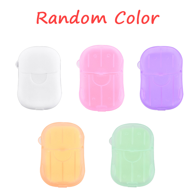 20Pcs/Box Soap Paper Washing Hand Mini Soap Disposable Scented Slice Sheets Foaming Soap Case Paper Cleaning Portable Boxed 5