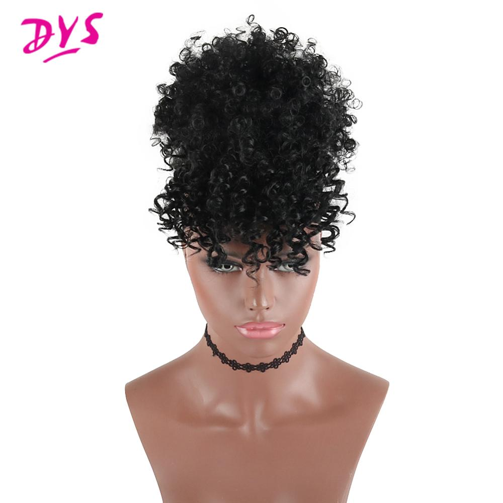 High Puff Afro Kinky Curly Synthetic Ponytail With Bangs Ponytail Hair Extension Drawstring Short Afro Pony Tail Clip In For Wom