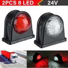 2 stücke 24v 8 LED Auto Lkw LED Seite Marker Licht Gummi Kunststoff Doppel Seite Anzeige Lampen Rot Weiß für Anhänger Lkw Van Bus