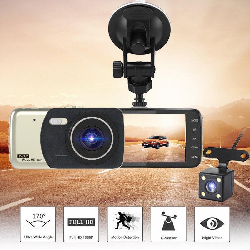 Car DVR Camera Dual Lens Full HD 1080P 4 Inch Auto Dash Cam Video Recorder Night Vision DVRs IPS large screen reversing image