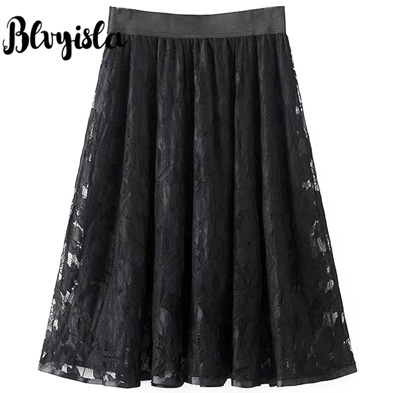 <font><b>5XL</b></font> Oversize Elastic Waist <font><b>Skirt</b></font> <font><b>Sexy</b></font> Black Lace Large Hem A-line <font><b>Skirts</b></font> Overweight Female Plus Size Chic Retro Show Slim Wear image