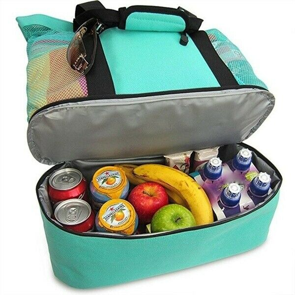 US Handheld Lunch Bag Cooler Picnic Bag Mesh Beach Tote Bag Food Drink Insulated Picnic Cooler Beach Food Storage Useful