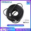 MISECU10M 20M 30M 50M katze RJ45 Patch Im Freien Wasserdichte Lan Kabel Netzwerk Kabel Schwarz Farbe Für CCTV POE IP Kamera System