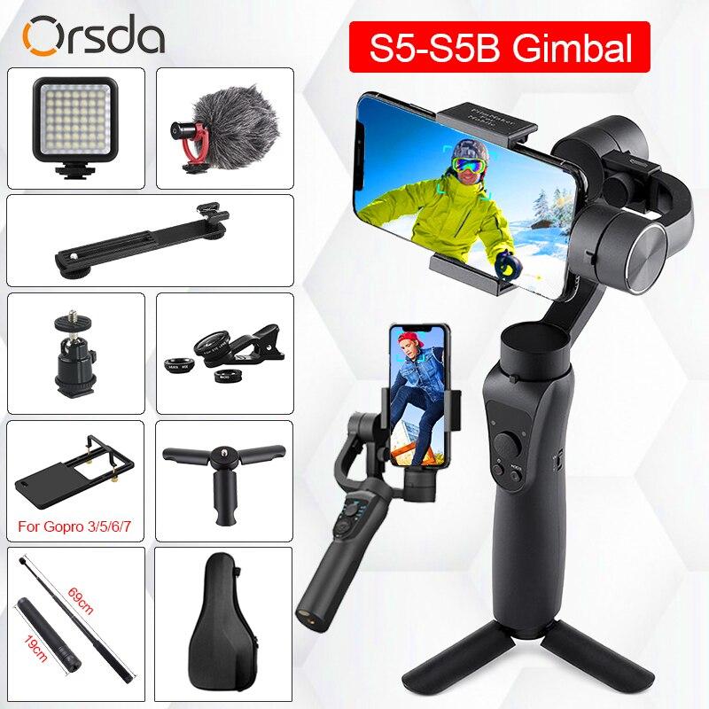 Orsda s5-s5b 3 eixos handheld estabilizador cardan smartphone faixa ativa com foco pull & zoom rosto rastreamento para telefone câmera gopro