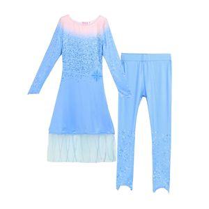 Image 5 - 2019 yeni film dondurulmuş 2 Fantasia top bebek kız Anna Elsa parti prenses mavi elbise çocuklar cosplay anime kostüm karnaval elbise