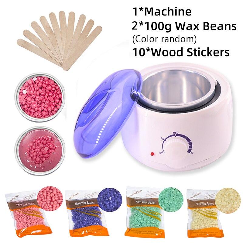Máquina de cera aquecedor de cera imersão pote remoção do cabelo feijão de cera adesivos de madeira kit depilação cera depilação depilação depilador