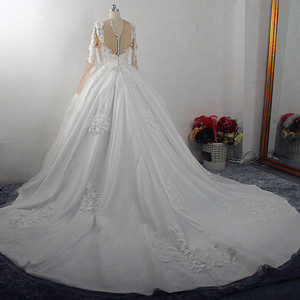 Image 4 - RSW1572 Robe De Mariee Illusion Back Buttones Flower Dress Princess Full Sleeves Wedding Gowns
