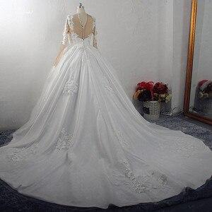 Image 4 - RSW1572 Robe De Mariee Illusion Terug Buttones Bloem Jurk Prinses Volledige Mouwen Bruidsjurken