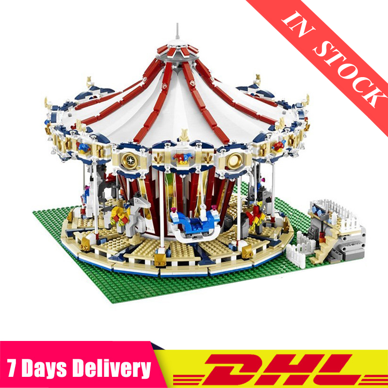 DHL IN Stock  15013 City Sreet Set Carousel Model Building Kits Blocks Toy Compatible 10196 Children Educational