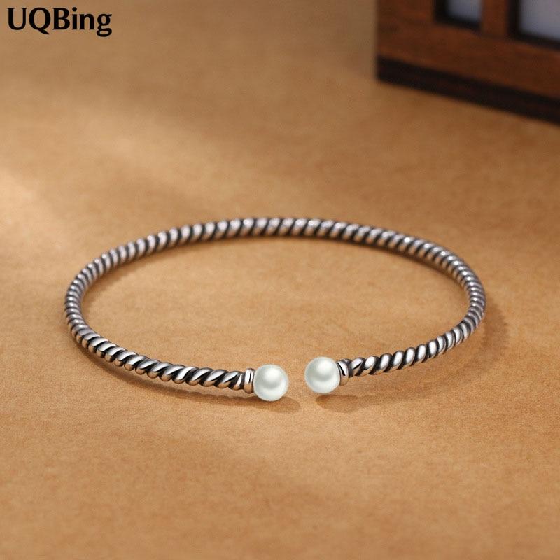 Fashion Beautiful 925 Sterling Silver Bangles Simulated Pearl Cuff Bangles & Bracelets Women Accessories Srebrna Bransoletka