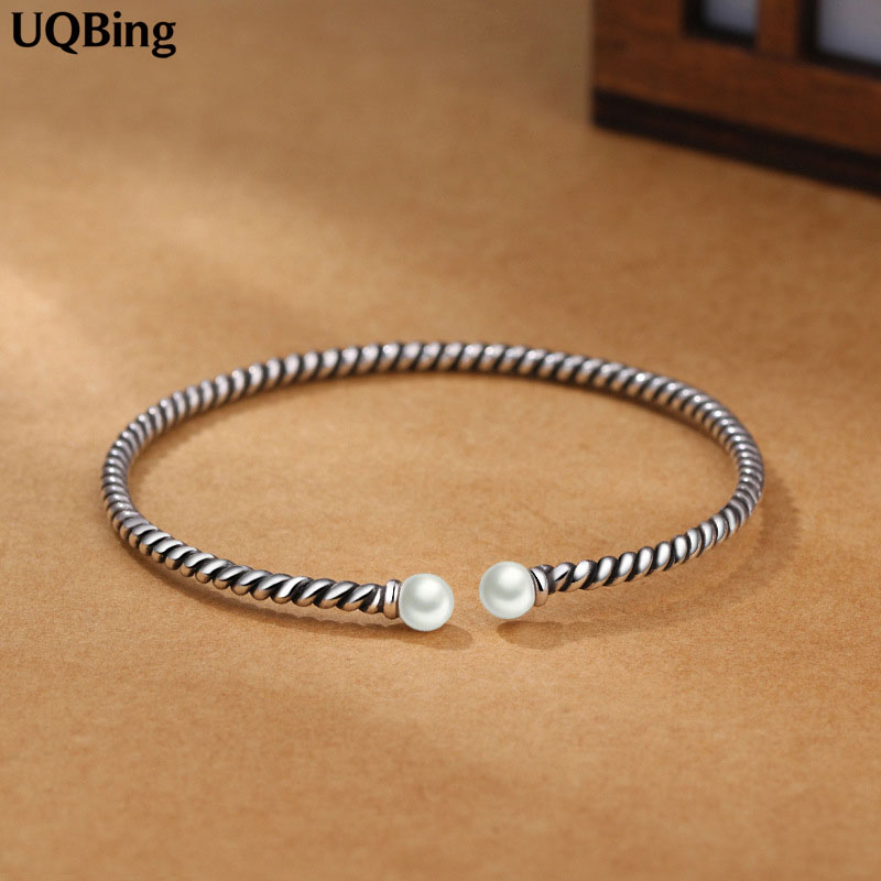 Fashion Beautiful 925 Sterling Silver Bangles Simulated Pearl Cuff Bangles & Bracelets Women Accessories Srebrna bransoletka