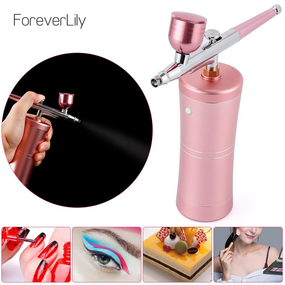 Top 0.3mm Pink Mini Air Compressor Kit Air-Brush Paint Spray Gun Airbrush For Nail Art Tattoo Craft Cake Nano Fog Mist Sprayer
