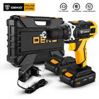 DEKO New Loner 16V LED Cordless Drill Mini Wireless Power Driver with Lithium Battery Pack Electric Screwdriver for Woodworking