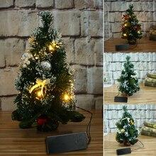 30 см настольная искусственная мини-елка с огнями Рождественский Декор украшения USB ночник стильный