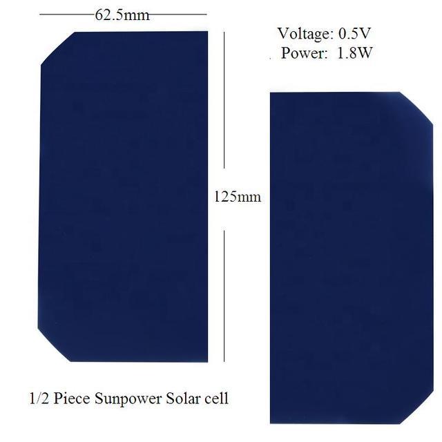 الخلايا الشمسية أحادية سيليكون كريستالي 23% كفاءة 0.5 فولت 1.8 واط sunpower مرنة ألواح خلايا شمسية 100 قطعة/الوحدة