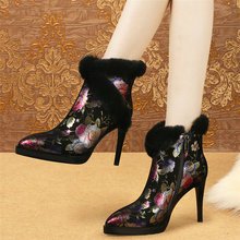 Women Black Genuine Leather High Heel Riding Boots High Top Warm Rabbit Fur Platform Pumps Shoes Pointed Toe Winter Snow Boots meotina genuine leather mid calf boots winter snow boots women real fur warm boots chain platform wedges high heel shoes black