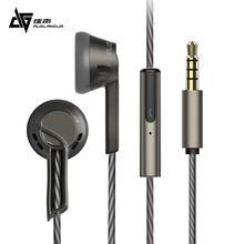 Auglamour RX 1 3.5mm metal fone de ouvido com fio fone de ouvido alta fidelidade música esportes graves fones de ouvido com microfone