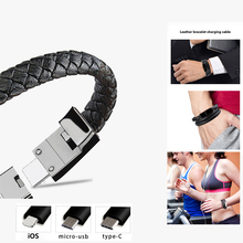 Portable Outdoor Leather Mini Micro USB Bracelet Charger Data Charging Cable Sync Cord for IPhone XR Android Type-C 60CM