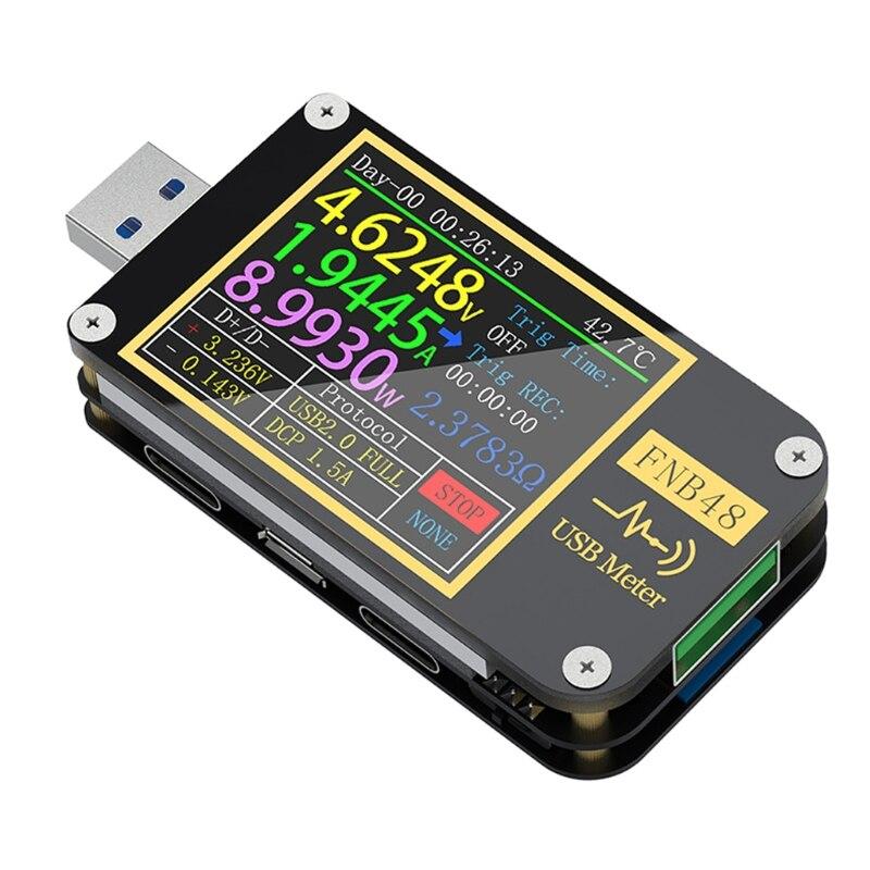 FNB48 PD триггер Вольтметр Амперметр ток и вольтметр USB тестер QC4 + PD3.0 2,0 PPS протокол быстрой зарядки тестер емкости