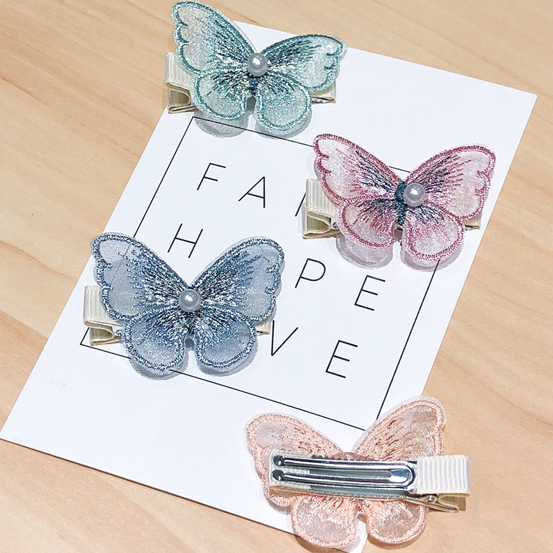 2PCS/Set New Women Girls Cute Lace Butterfly Hairpins Sweet Fairy Hair Ornament Clip Barrettes Headband Fashion Hair Accessories