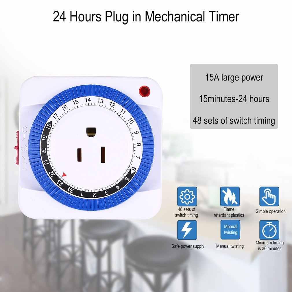 24 heures brancher mécanique mis à la terre Programmable minuterie commutateur intelligent compte à rebours interrupteur prise intérieure mise hors tension automatique 125V