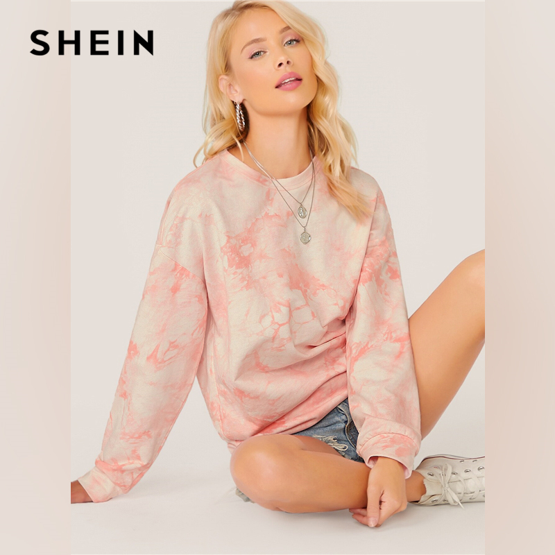 SHEIN Pastel Pink Drop Shoulder Tie Dye Sweatshirt Tops Pullover Women Autumn Long Sleeve Basic Ladies Casual Sweatshirts